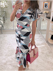 V-Neck  Abstract Print Geometric Printed Bodycon Dress