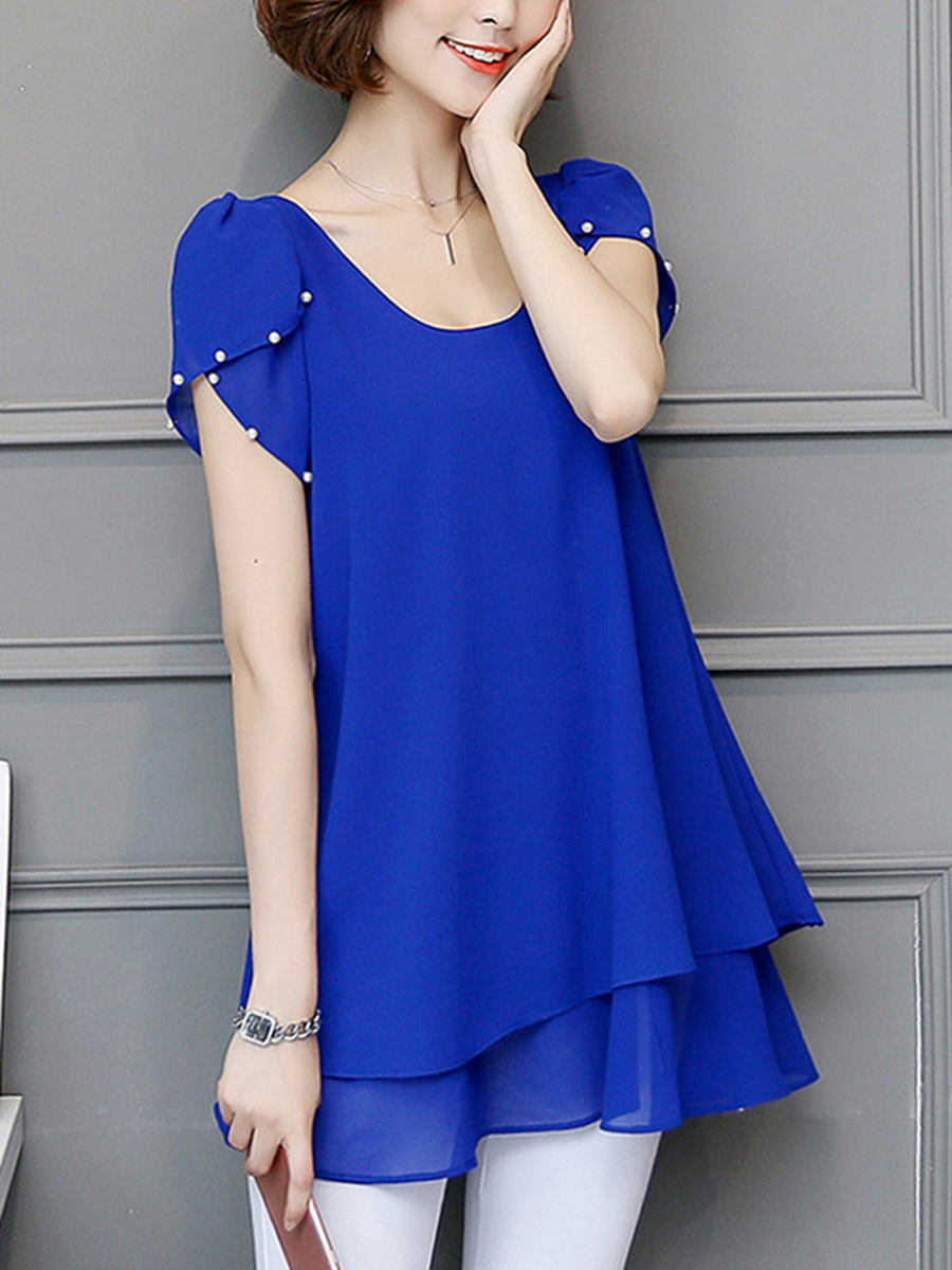 Round Neck  Beading  Plain  Petal Sleeve Blouse