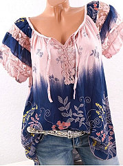 Summer  Blend Cotton  Women  Tie Collar  See-Through  Floral Printed  Short Sleeve Blouses