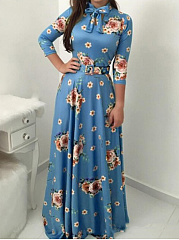 Tie Collar  Floral Fashion Maxi Dress