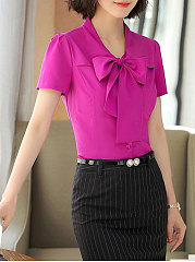Summer  Polyester  Women  Tie Collar  Single Breasted  Plain  Short Sleeve Blouses