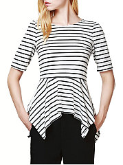 Spring Summer  Cotton  Women  Round Neck  Asymmetric Hem  Striped  Half Sleeve Short Sleeve T-Shirts