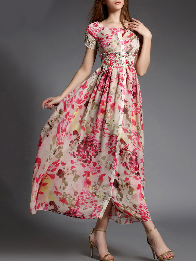 Image of Fashionmia Beach Round Neck Elastic Waist Printed Maxi Dress