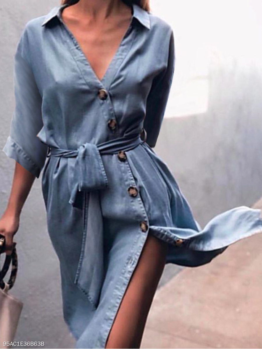 Turn Down Collar  Single Breasted  Belt  Plain Skater Dress