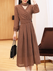 Surplice  Polka Dot Maxi Dress