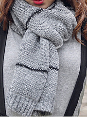 Warmer New Plain Soft Knitted Striped Scarves