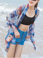Delightful See-Through Printed Bell Sleeve Chiffon Kimono