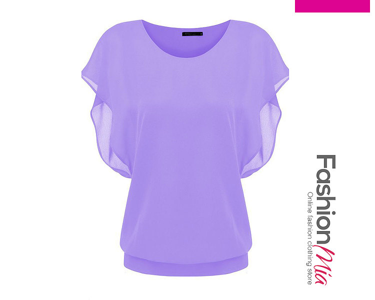 Summer  Polyester  Women  Round Neck  Plain  Batwing Sleeve  Short Sleeve Blouses