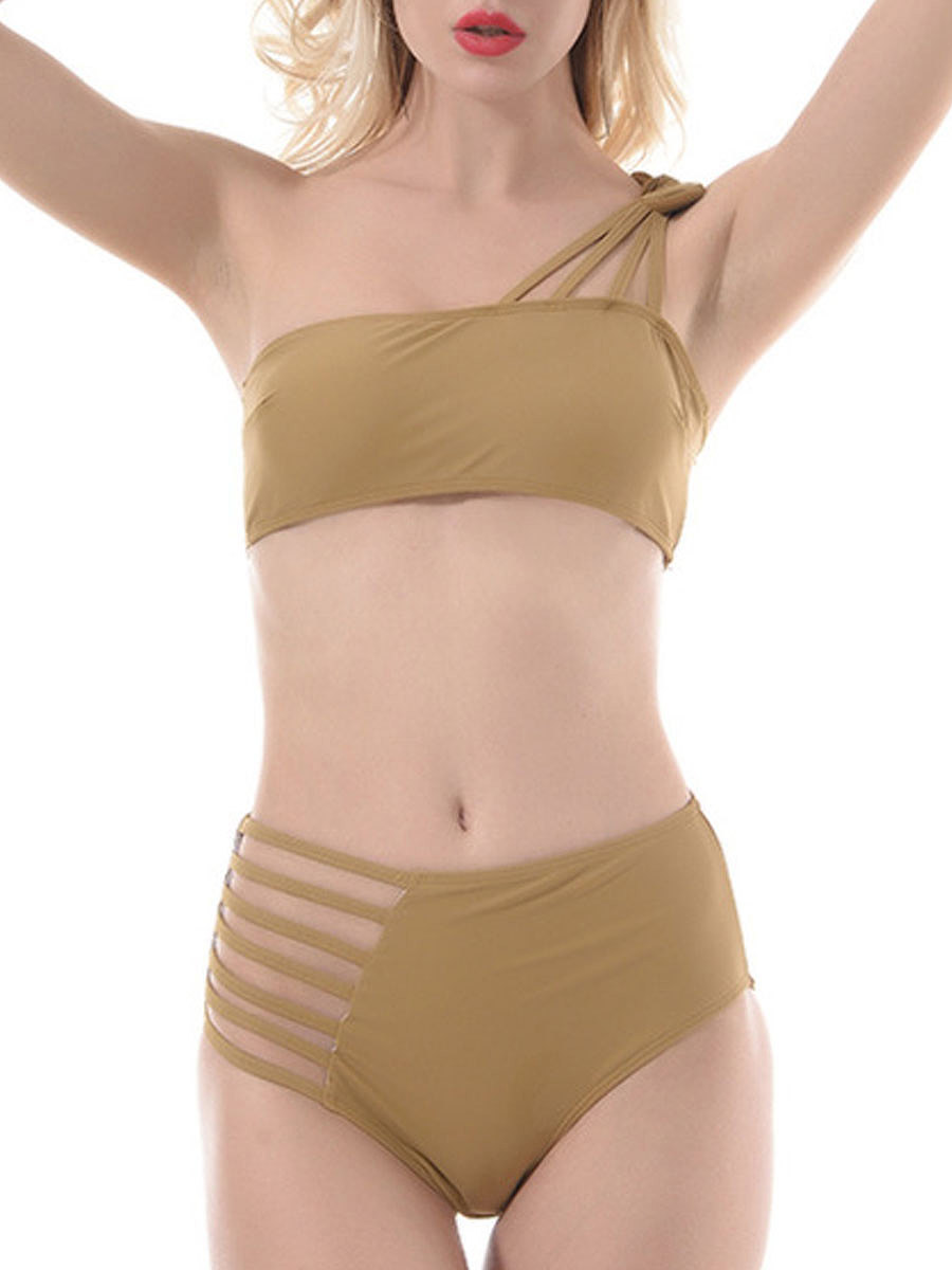 Backless  Plain Bikini