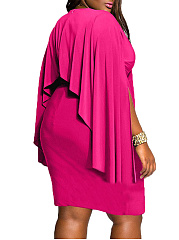 V-Neck  Plain Plus Size Bodycon Dresses