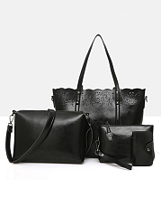 Fashion Four Pieces Hollow Out Hand Bag & Crossbody Bag