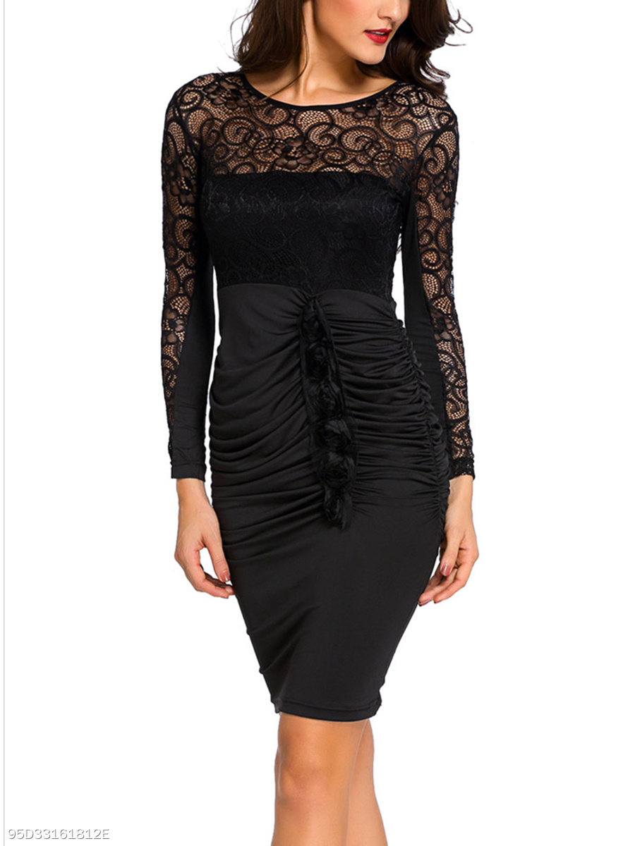 Round Neck See-Through Ruched Plain Bodycon Dress