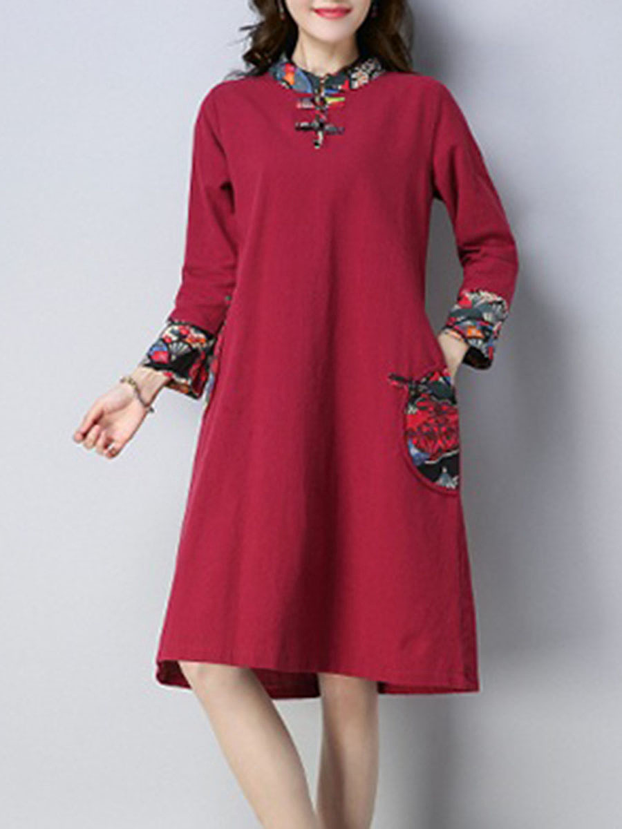 Band Collar  Patchwork  Printed  Cotton/Linen Shift Dress