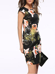 Round Neck Floral Printed Bodycon Dress
