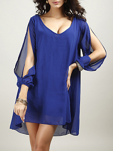 V-Neck  Plain  Chiffon Shift Dress