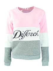 Round Neck  Colouring Letters Printed  Long Sleeve Sweatshirts