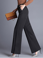 Office Black High-Rise Pocket Wide-Leg Pants