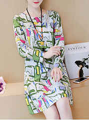 Fashion Round Neck  Abstract Print Shift Dress