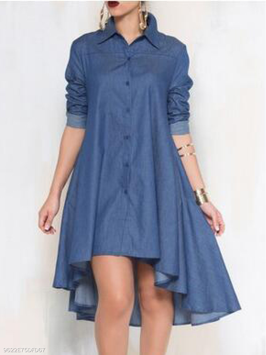 Fold-Over Collar  Single Breasted  Plain Skater Dress