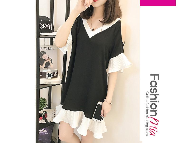V-Neck  Ruffled Hem  Color Block Shift Dress 962EEB8A47A6