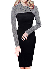Fold-Over Collar  Camouflage Bodycon Dress
