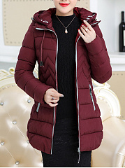 Casual Hooded Quilted Plain Pocket Padded Coat