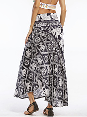 Tribal Elephant Printed  Flared Maxi Skirt