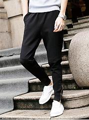 Black-Pocket-Zips-Mens-Casual-Slim-Leg-Pants