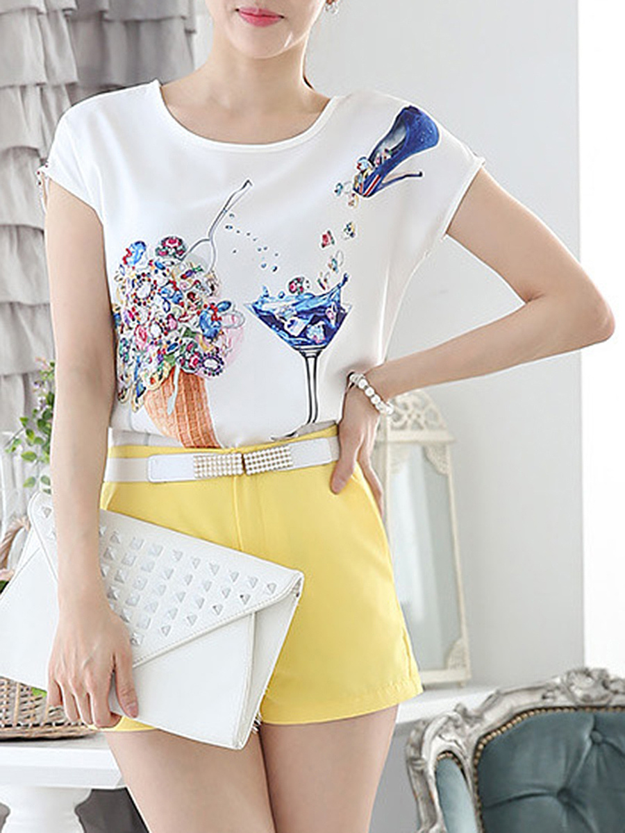 Fantastic Printed Round Neck Short Sleeve T-Shirt