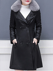 Faux Fur Collar  Double Breasted  Plain Coat