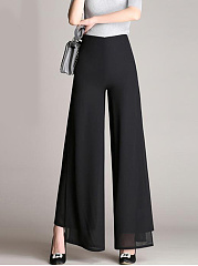 Plain High Slit High-Rise Double Layered Wide-Leg Chiffon Pants