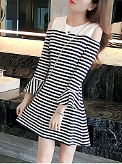 Casual Cute Open Shoulder Striped Bell Sleeve Skater Dress