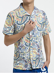 Fold-Over Collar  Printed  Short Sleeve Short Sleeves