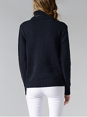 Turtleneck Plain Brocade Pullover