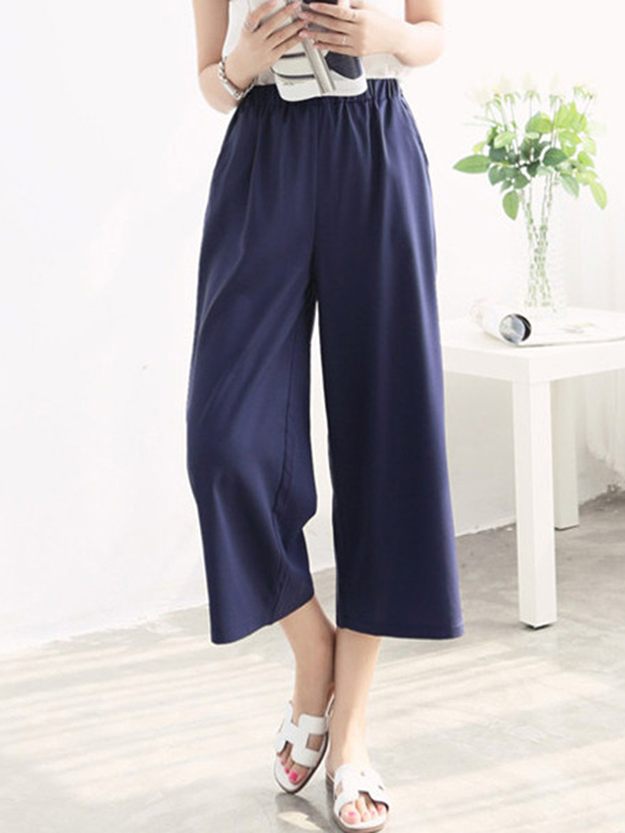 Casual Pocket  Plain  Wide-Leg Cropped Casual Pants