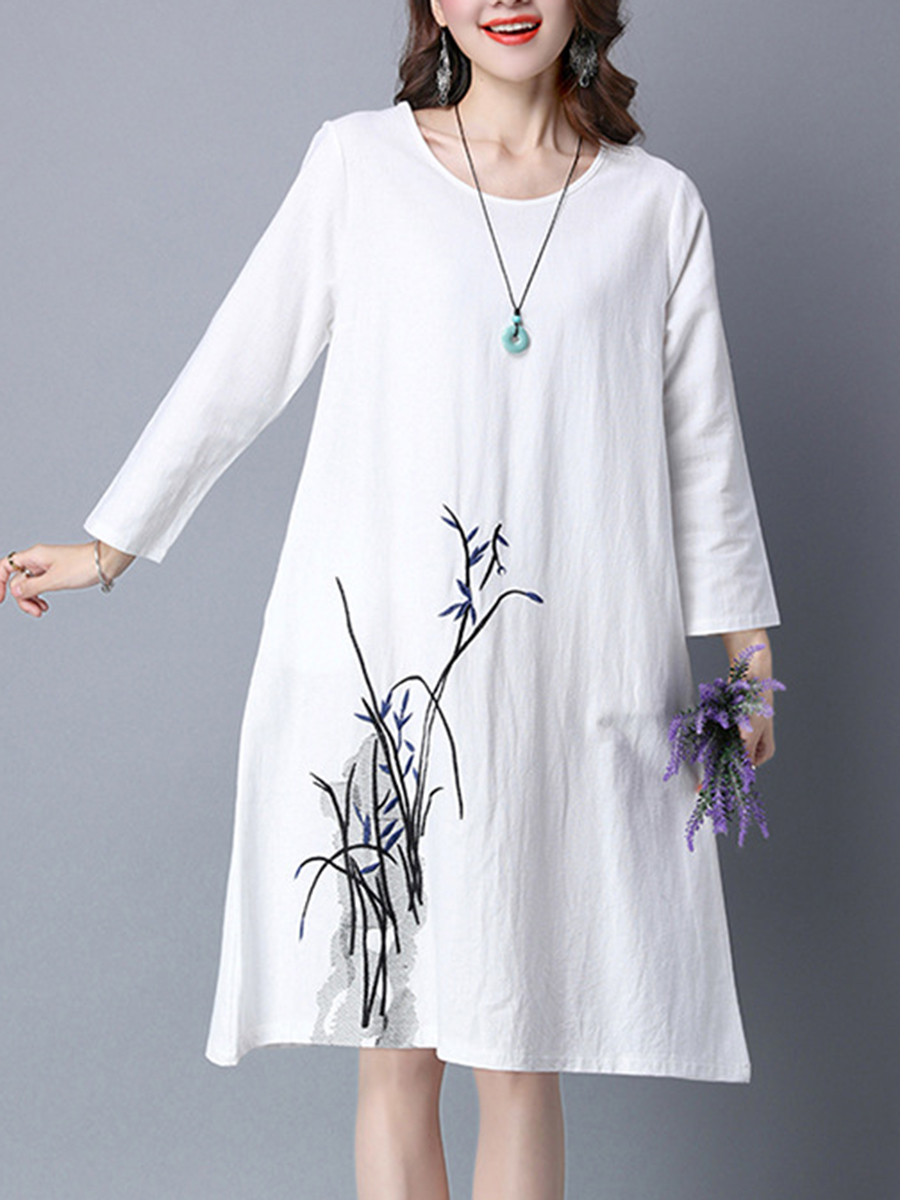 embroidery casual autumn winter shift Round Neck  Embroidery  Cotton/Linen Shift Dress