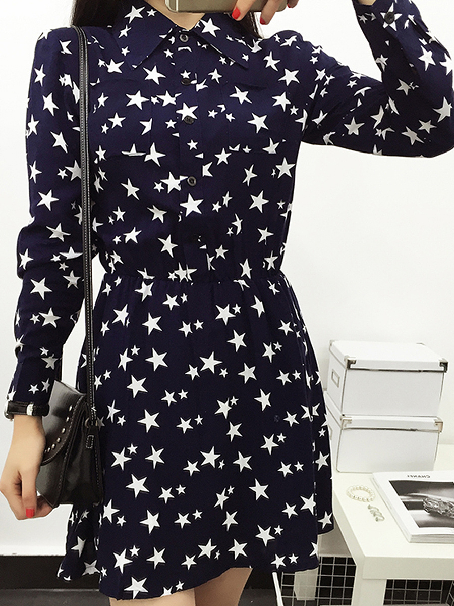 Turn Down Collar  Ruffled Hem Single Breasted  Printed Star Skater Dress