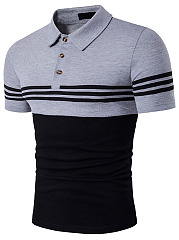 Polo Collar  Color Block  Short Sleeve Short Sleeves T-Shirts