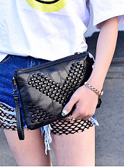 Fashion All Black Beading Fringe Decoration Zipper Clutches