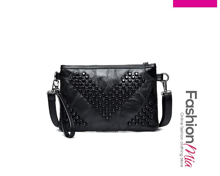 Fashion All Black Beading Fringe Decoration Zipper Clutches