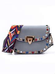 New Colorful Widen Strap Beading Crossbody Bag