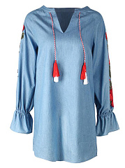 Split Neck  Applique Denim Shift Dress