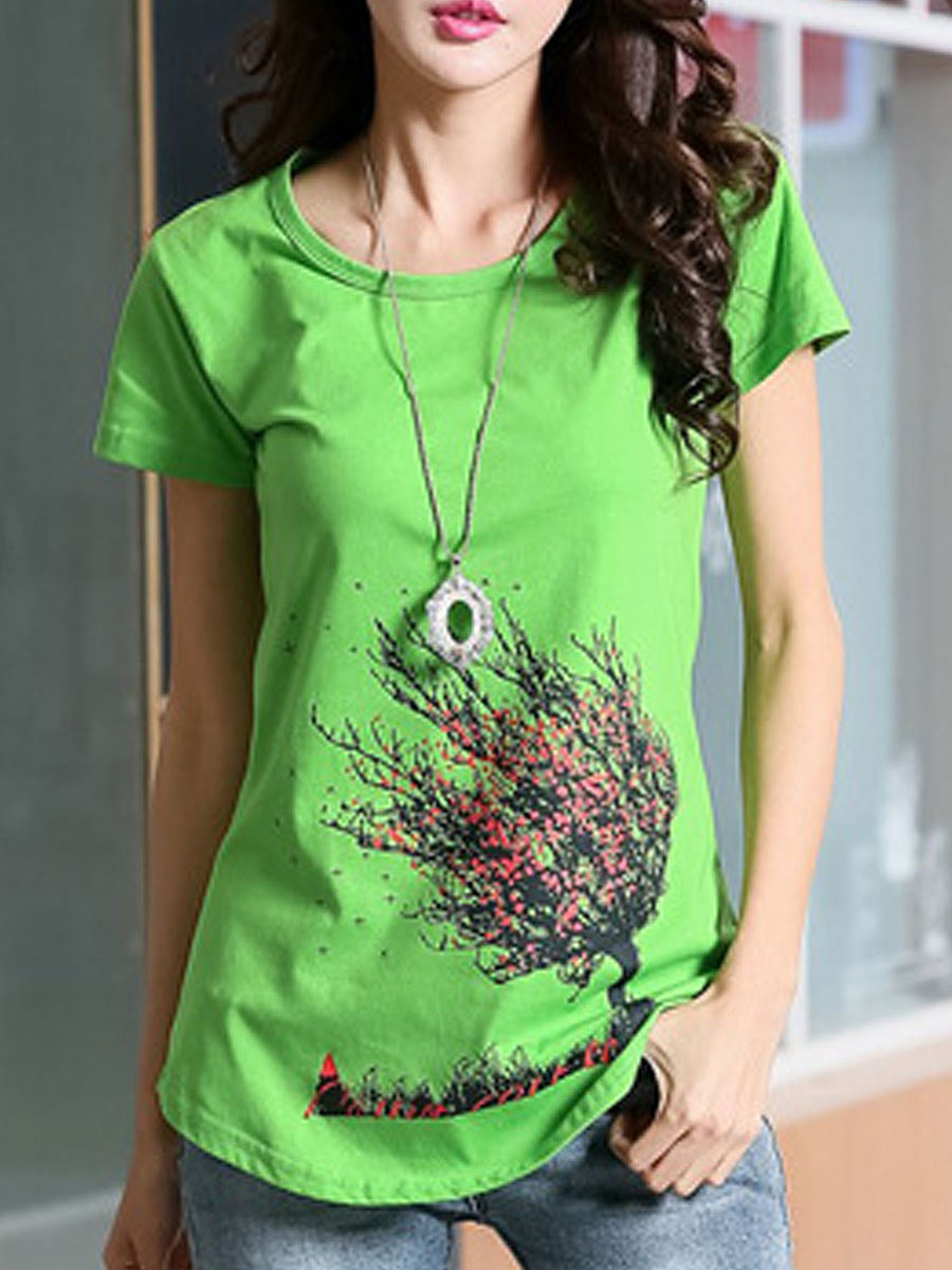 Summer  Cotton  Women  Round Neck  Asymmetric Hem  Floral Printed Short Sleeve T-Shirts