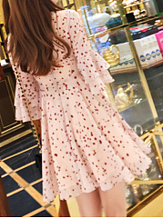 V-Neck  Flounce Lace-Up Ruffled Hem  Cascading Ruffles  Floral Printed Skater Dress