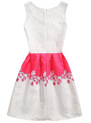 Color Block Embossed Floral Round Neck Skater Dress