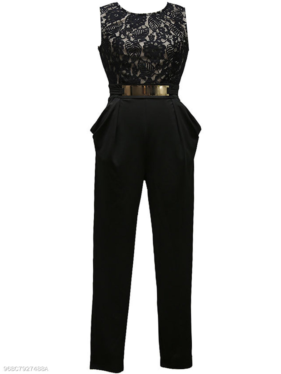 Round Neck Back Hole Draped Pocket Slim-Leg Jumpsuit