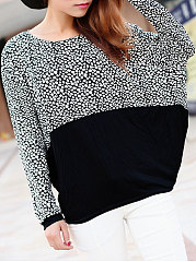 Autumn Spring  Cotton  Women  Round Neck  Patchwork  Polka Dot Long Sleeve T-Shirts