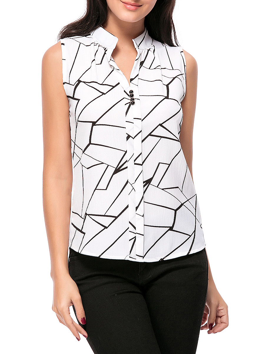 Split Neck  Printed Chiffon Sleeveless T-Shirt