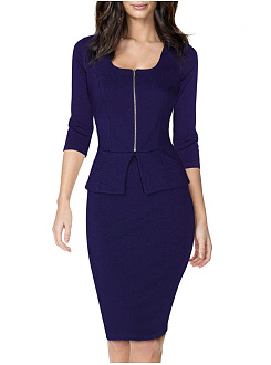 Square Neck  Zips  Plain Bodycon Dress