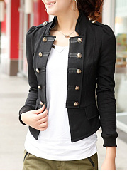 Band Collar Double Breasted Plain Jacket